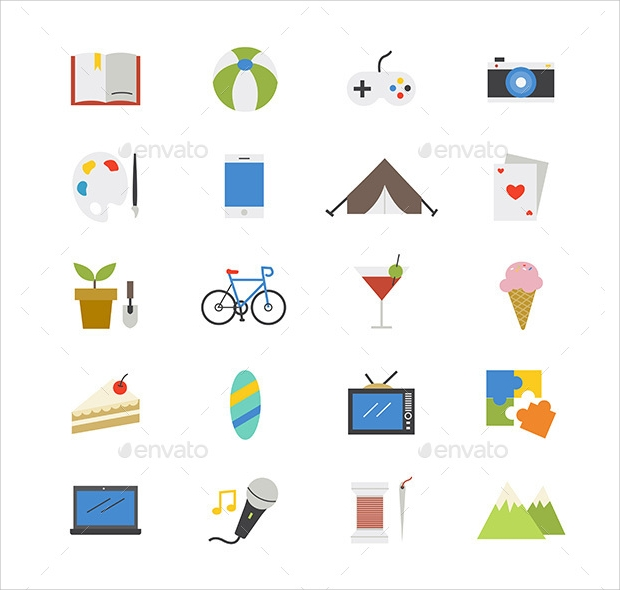 Hobbies and Activity Flat icons
