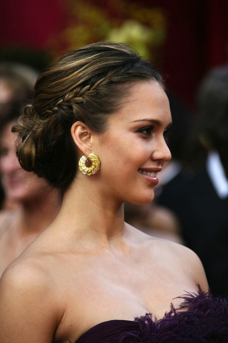 jessica alba braided low bun hairstyle design