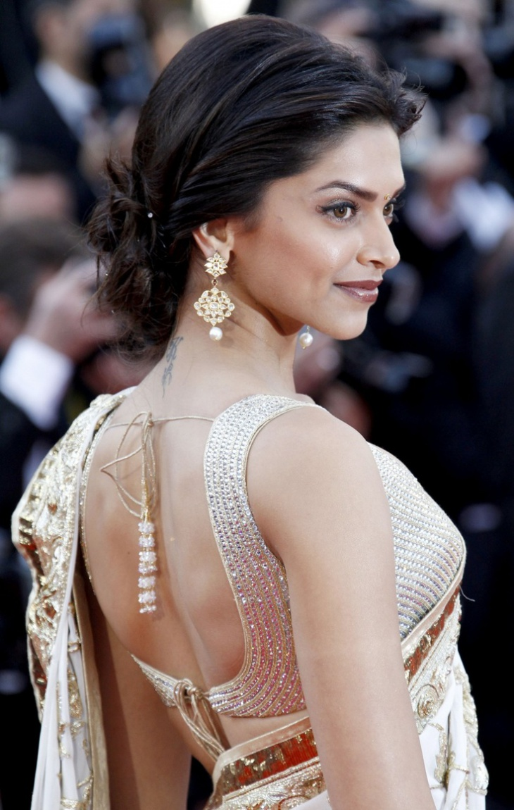 deepika padukone low bun hairstyle idea