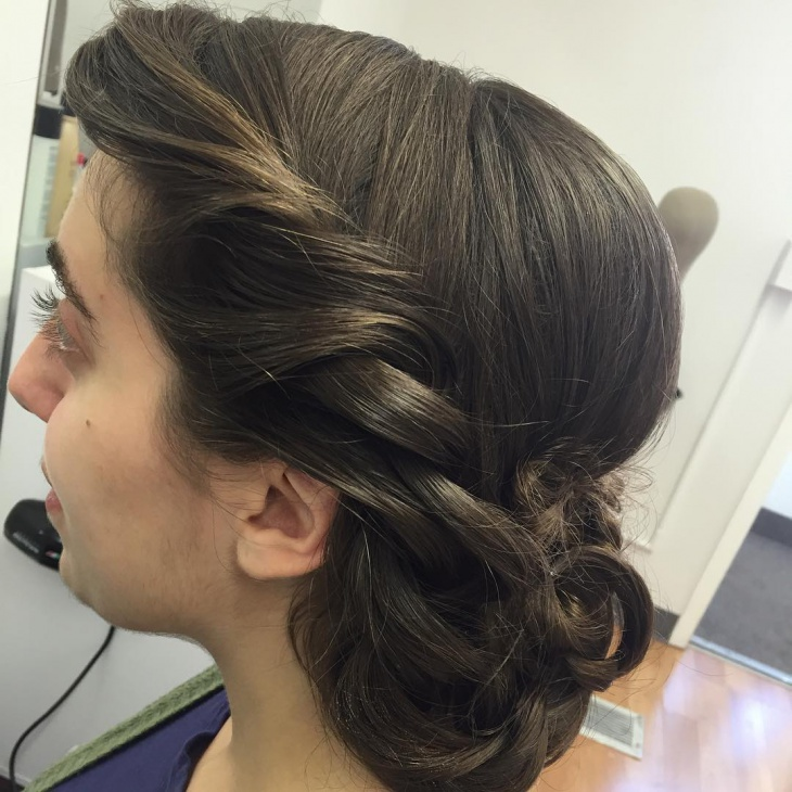 Side Braid Low Bun Hairstyle