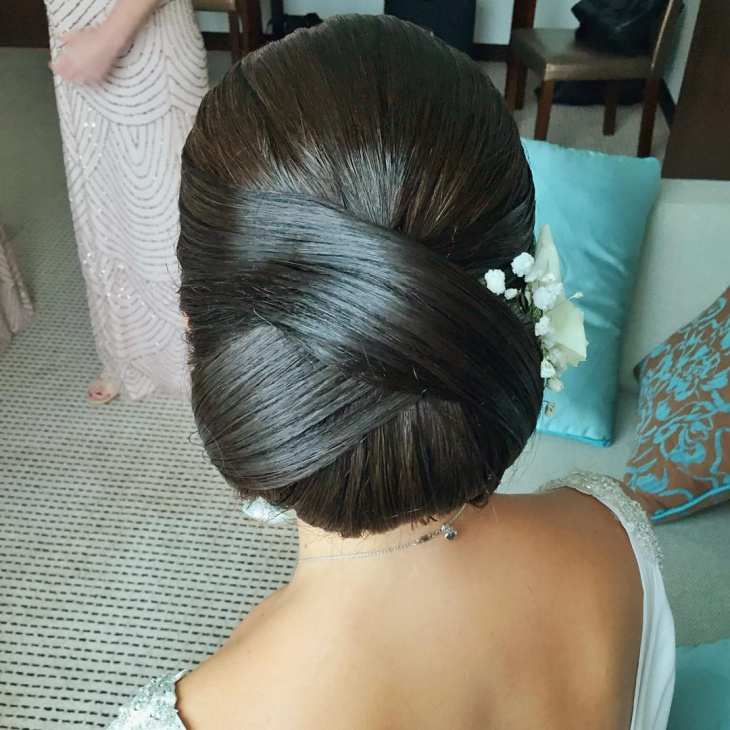 long low bun hairstyle
