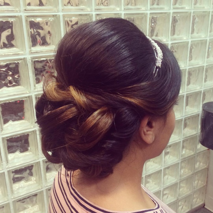 Silky Side Bangs with Low Bun Hair