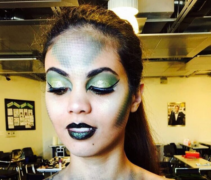Green and Blue Scales Makeup