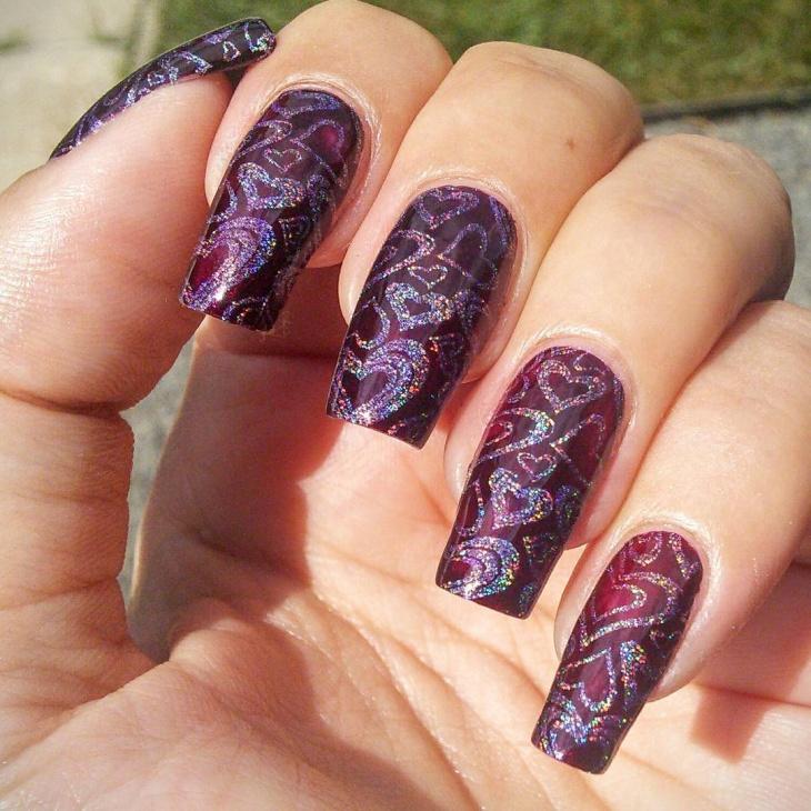 holographic purple glitter nails