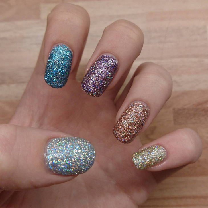 colorful holographic nail art