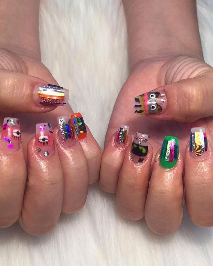 funky holographic nail art idea