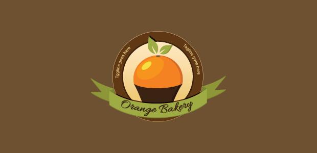 orange cupcake bakery logo design