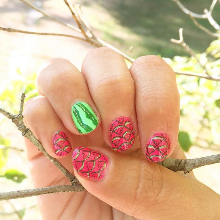 watermelon nail art design