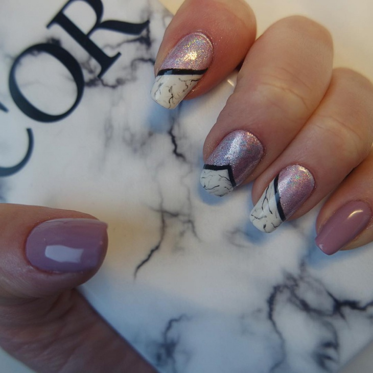 trendy holographic nail art