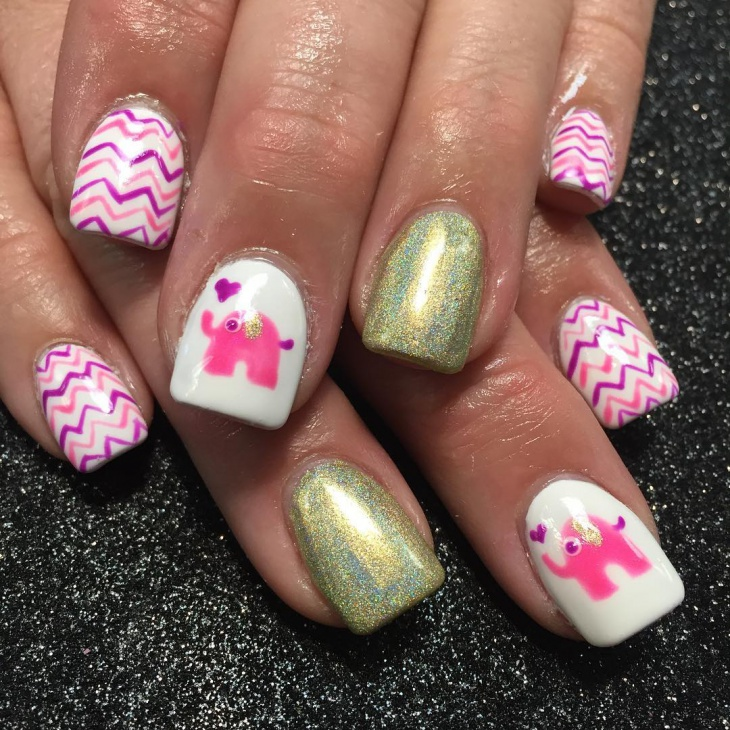 cute holographic nail design