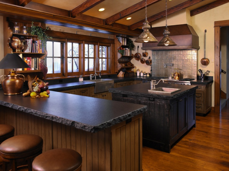 Black Rustic Wood Kitchen Island