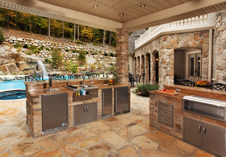 Pool Side Rustic Kitchen Island