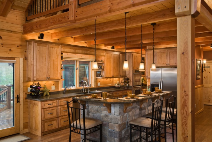 Rustic Kitchen Island with Chandelier Idea