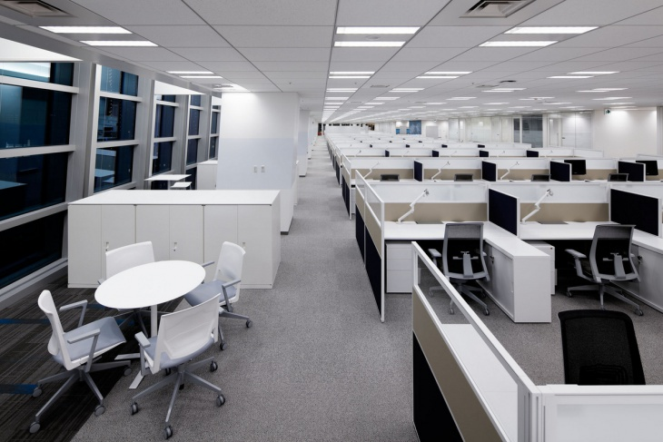 Long White Modular Office Design