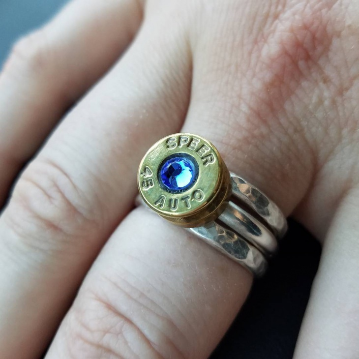 Handmade Bullet Ring with Blue Stone