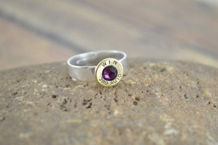 Purple Stone Bullet Ring