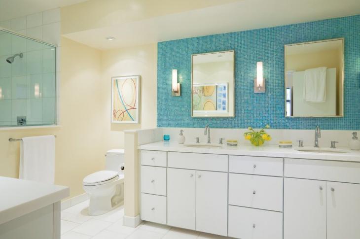 Blue Half Bathroom Wall Design