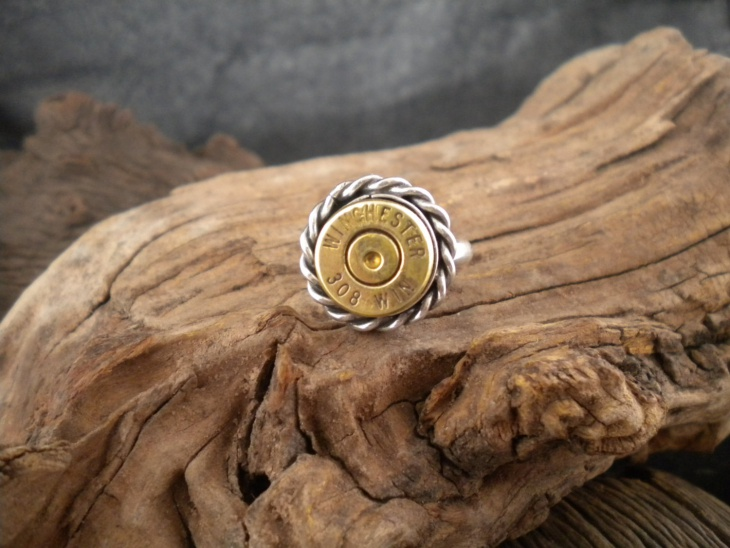 Handcrafted Silver Bullet Ring
