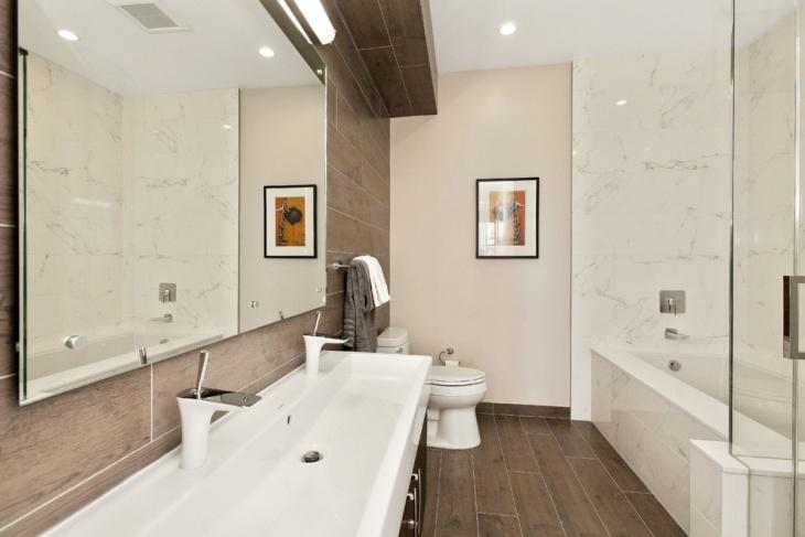 half bathroom wood floor idea
