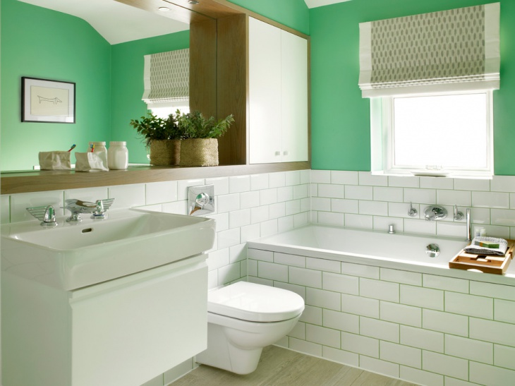 green wall half bathroom