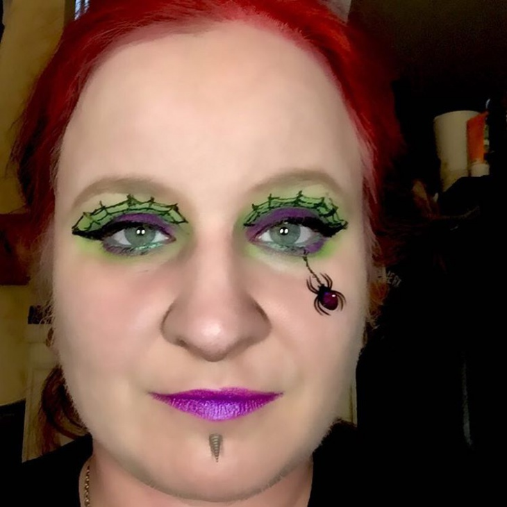 purple spider web eye makeup