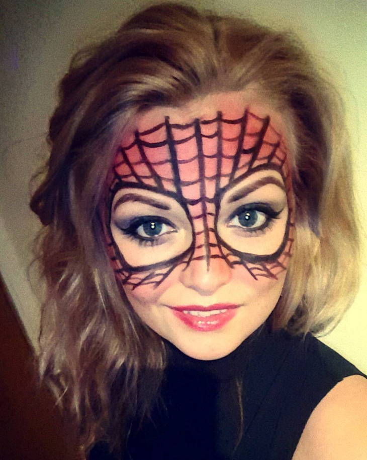 reda and black spider face makeup