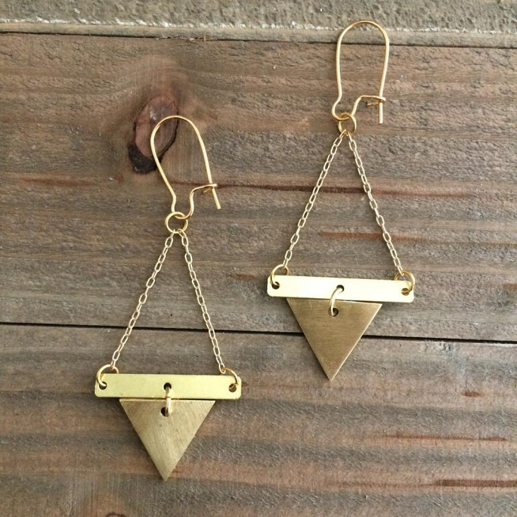 Gold Simple Geometric Earrings