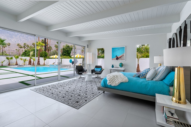 beautiful pool view sleek bedroom