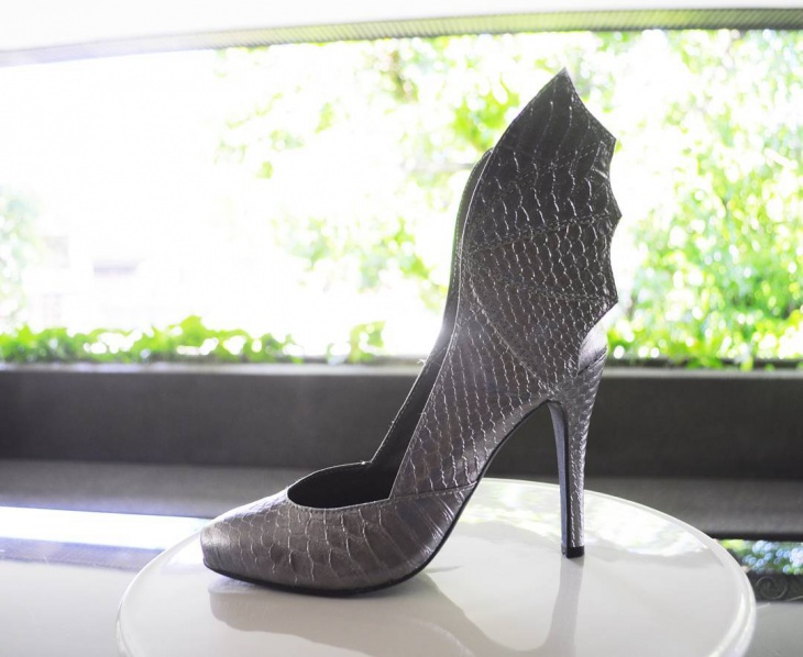 silver color winged shoes idea