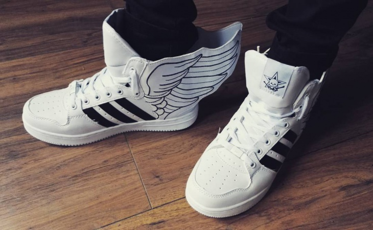 Black and White Winged Sneakers
