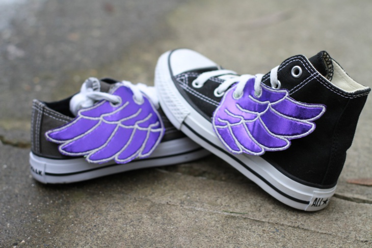 Purple Winged Shoe Design