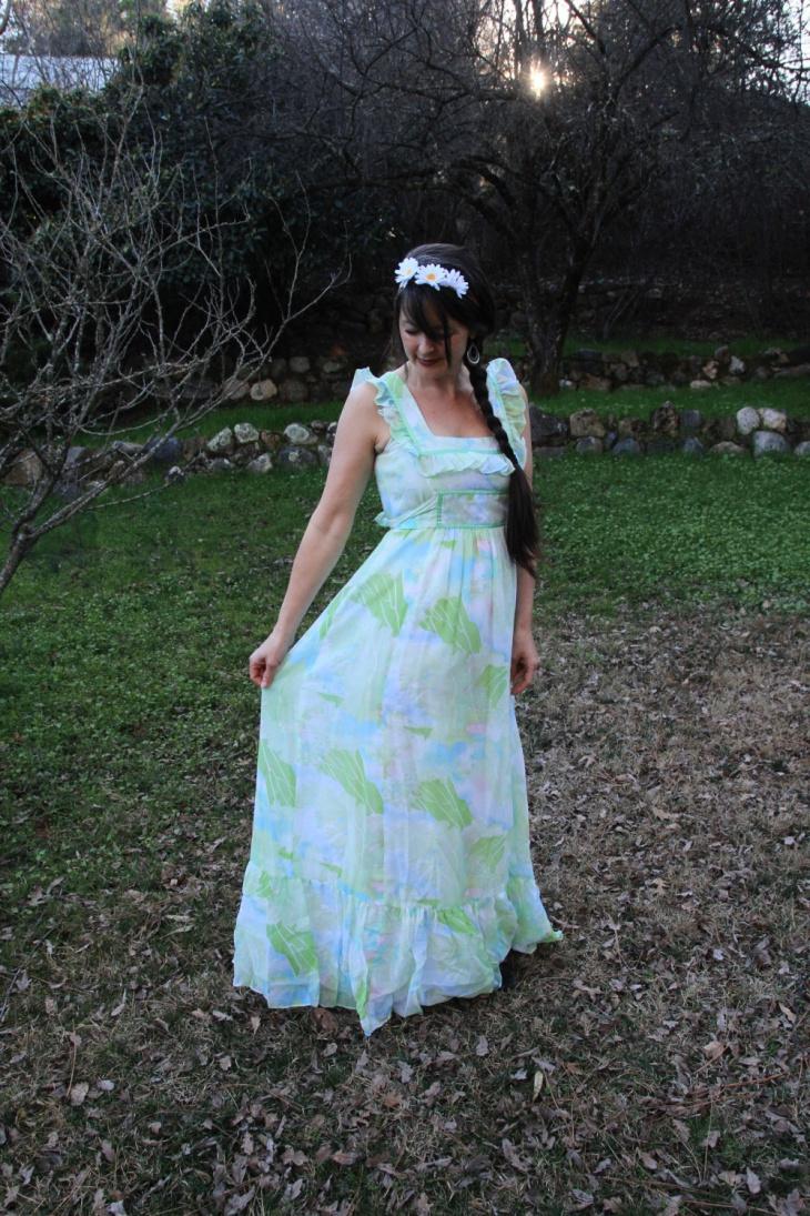 vintage style ribbon maxi dress