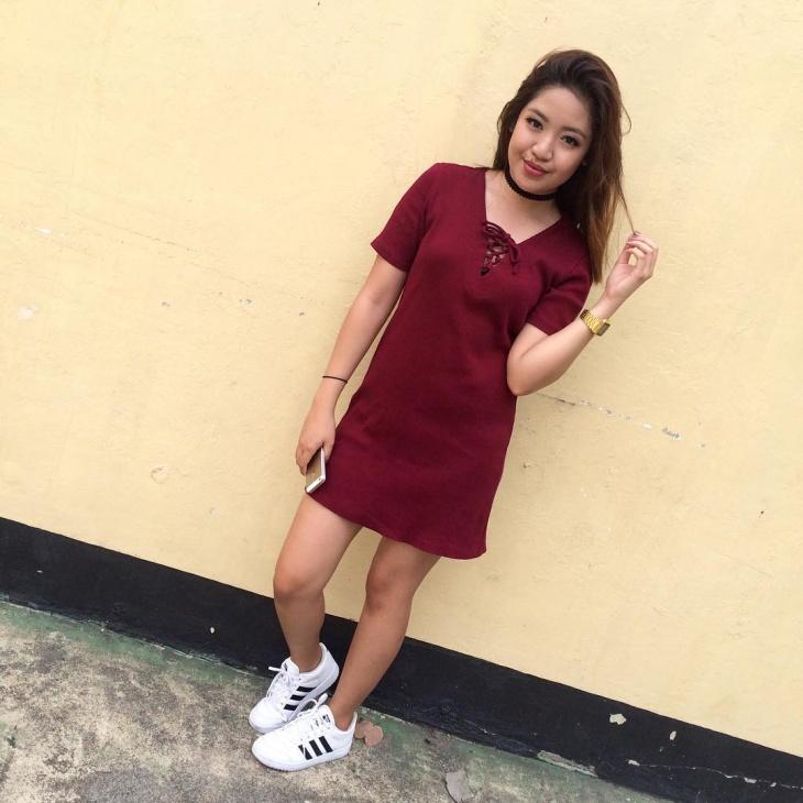 red ribbon mini dress design