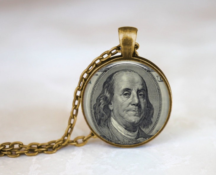 dollar bill pendant necklace