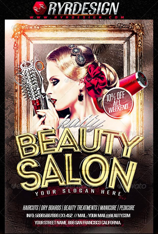 Flat Style Beauty Salons Advertising PSD Flyer