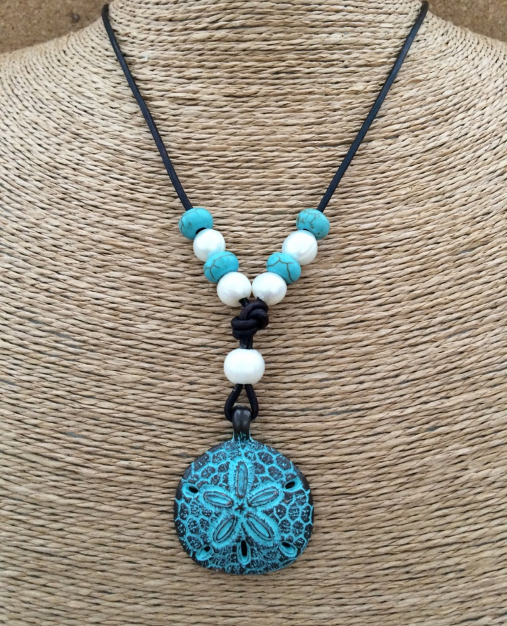 Sand Dollar Leather and Freshwater Pearl Necklace