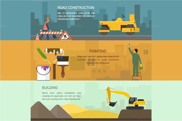 construction horizontal banner set