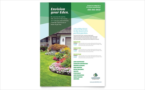 18 landscaping flyer templates printable psd ai for Garden maintenance flyer template