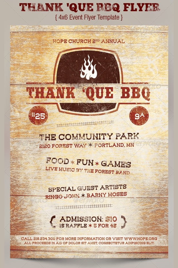 BBQ Charity Flyer TemplateBBQ Charity Flyer Template