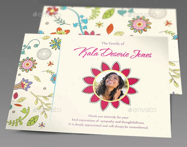 floral dreams funeral thank you cards