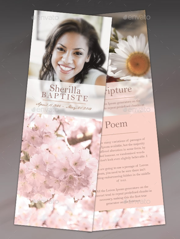 cherry funeral thank you card template