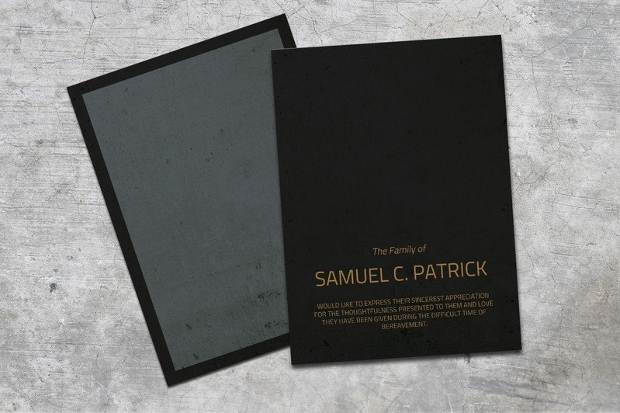 black stone funeral thank you card