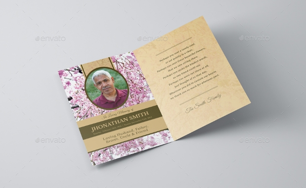 cherry blossom funeral thank you card