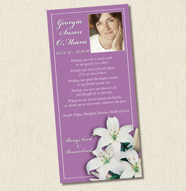 funeral bereavement thank you card