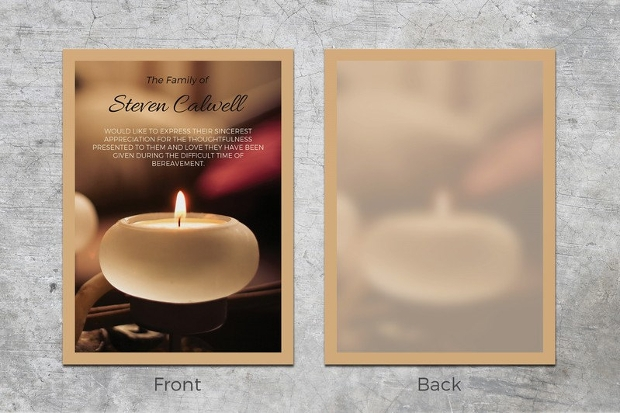 candle funeral thank you card