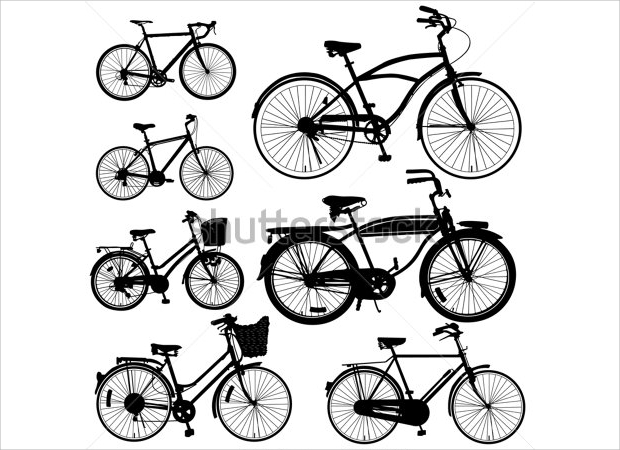 Black and White Bicycle Vector