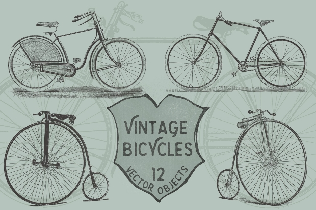 Vintage Bicycle Vector Pack