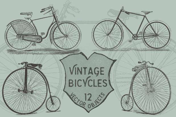 vintage bicycle vector pack