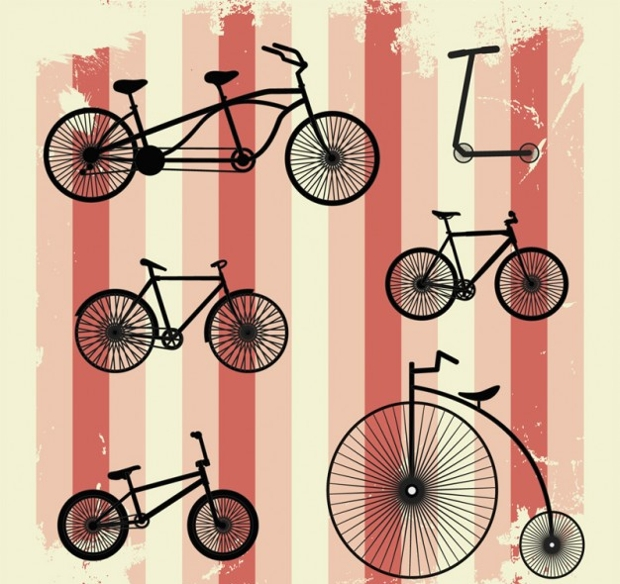 retro vector bicycle illustration