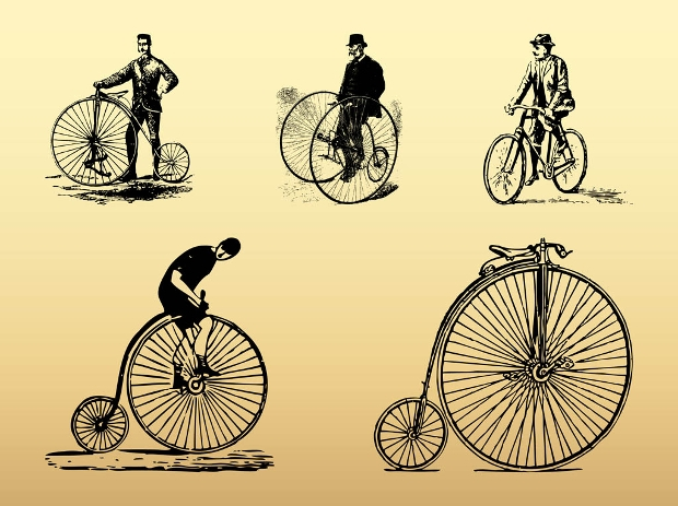 Vintage Bike Vector Set